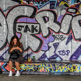 Graffiti Break by T Sco - People Street & Candids ( woman, bench, break, person, graffiti, text, girl, wall )