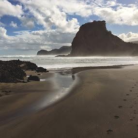 Footprints. by Martina Frnčová - Landscapes Beaches ( rocks, beach, clouds, sea, landscape, footprints, two paths,  )
