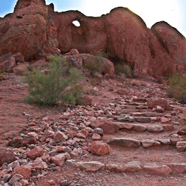 Follow Me by Deb Bulger - Nature Up Close Rock & Stone ( papago park, rock staircase, nature, natural rocks and stone, rock formation, landscape,  )