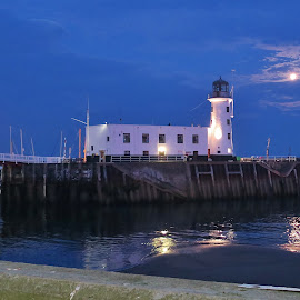 Moonlight lighting up lighthouse  by Eloise Rawling - Buildings & Architecture Other Exteriors ( scarborough, harbour, lighthouse, seascape, moonlight )