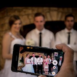 T&m 2 by Jurica Žumberac - Wedding Bride & Groom ( hand, wedding, mobile phone, happiness, marriage, bride, groom )