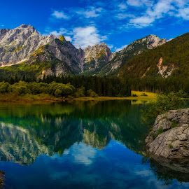 Laghi di fusine by Miroslav Asanin - Landscapes Mountains & Hills ( clouds, canon, adventure, reflection, blue sky, mountain, beautiful, morning glory, forest, lake, italy, exploration )