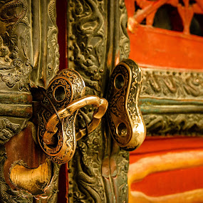 Ancient Door by Tom Whitney - Buildings & Architecture Architectural Detail ( detail, hardware, red, door, knocker, brass, yellow, asian, china )