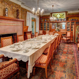 Your Table Is Set by John Williams - Buildings & Architecture Homes ( wisconsin, lake geneva, dinning room, interior architecture, black point estate )