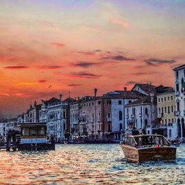 Venice Grand Canal at Sunset by Ted Urquhart - City,  Street & Park  Vistas ( sunset, venice, italy )