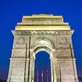 The Golden India Gate in the blue hour . by Ankit Chauhan - City,  Street & Park  Street Scenes ( #‎india_gate‬ ‪#‎delhi‬ ‪#‎india‬ ‪#‎blue‬ ‪#‎hour‬ ‪#‎long_exposure‬ ‪#‎photowalk‬ ‪#‎crazyrover‬ ‪#‎aankitchauhan‬ ‪#‎standing‬ ‪#‎tall‬ ‪#‎bravery‬ ‪#‎war‬ )