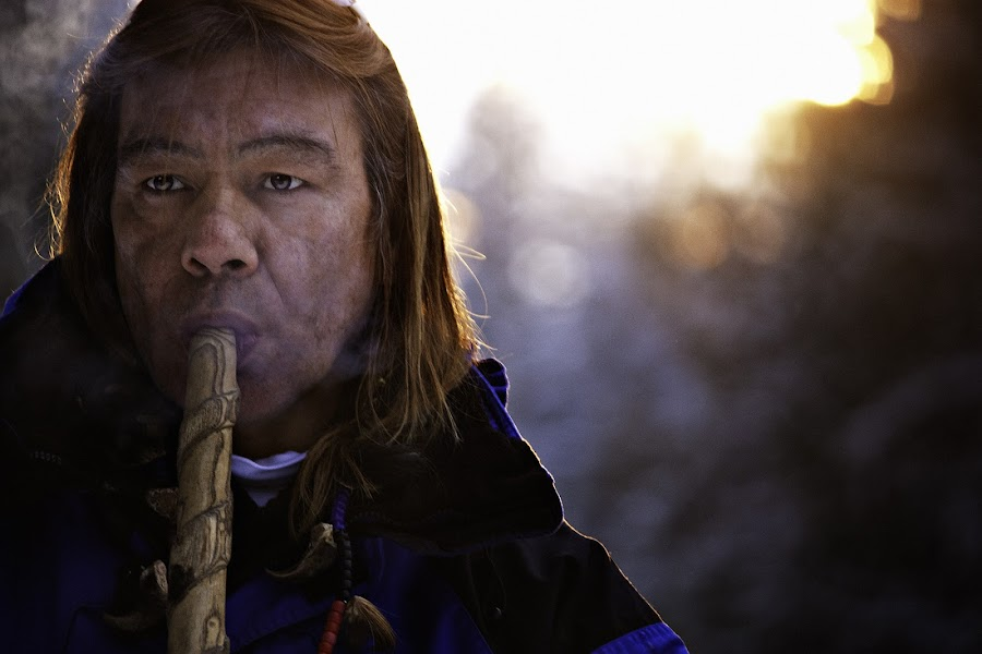 Peace Pipe by Shannon Holand - People Portraits of Men ( first nations, peace pipe, shaman, medicine man, portrait )