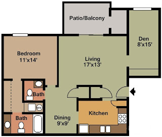 Castleton Manor Floor Plan 2 Bed 1.5 Bath 965 SqFt