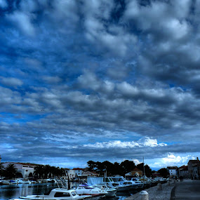cloudy by Čedna Dadić - City,  Street & Park  Neighborhoods ( clouds, blue, town, boat, city )