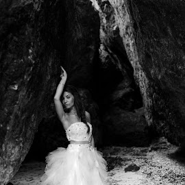 In the cave by Andrew Morgan - Wedding Bride ( zanzibar, wedding, wedding dress, cave, bride )