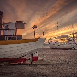 Slettestrand by Ole Steffensen - Transportation Boats ( jammerbugten, slettestrand, sunset, boats, denmark, fishing, beach )