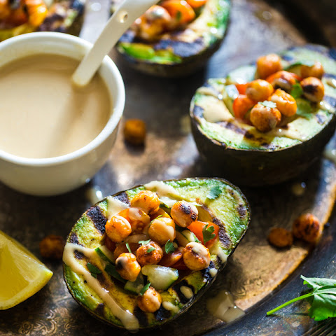 Vegan Mediterranean Grilled Avocado Stuffed with Chickpeas and Tahini
