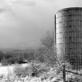 Silo by David W Hubbs - Buildings & Architecture Other Exteriors ( farm, winter, cold, snow, frozen, silo, winter field )