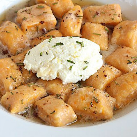 Sweet Potato Ricotta Gnocchi with Garlic Brown Butter Herb Sauce