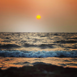 Sunset by Ajit Pendse - Instagram & Mobile Android ( water, color, waves, sunset )