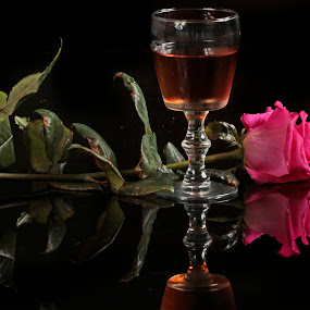 Wine and Rose by Cristobal Garciaferro Rubio - Food & Drink Alcohol & Drinks ( wine, cup, rose, reflection, pink rose )