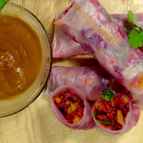 Asian Slaw Rice Paper Rolls with Peanut Dipping Sauce