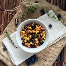 Creamy Polenta w/ Blueberry Corn Relish & Pork