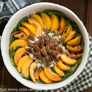 Spinach Salad with Grilled Peaches and Blue Cheese