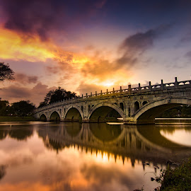 Golden sunset by CK Chong - Buildings & Architecture Bridges & Suspended Structures ( link bridge @ chinese and japanese garden ~ singapore )