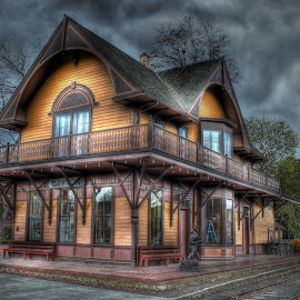Stormy Train Depot by Eric Demattos - Buildings & Architecture Public & Historical ( train depot, eric demattos, dayton, historical, storm, rain )