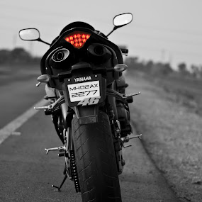 Yamaha R1 by Sudheer Hegde - Transportation Motorcycles ( b&w, red, motorcycle, 50mm, road, sudheer, nikon )