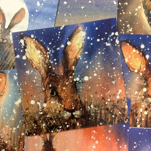 Hare rabbit christmas cards pack set british animal art