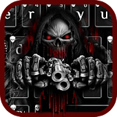 Red Blood Skull Guns keyboard theme