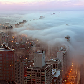 Weather in Chicago by John Harrison - Landscapes Weather ( clouds, fog, lake shore drive, weather, chicago, nikon, jnhphoto )