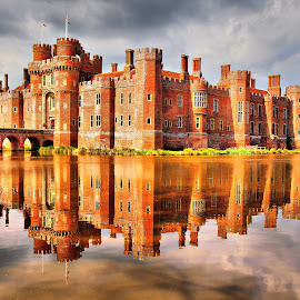 Herstmonceux Castle by Martin Hughes - Buildings & Architecture Public & Historical ( reflection, hdr, sussex, moat, reflections, castle, herstmonceux castle )