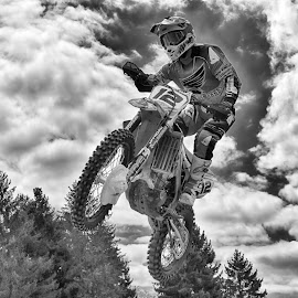 Twelve by Marco Bertamé - Black & White Sports ( clouds, flying, motocross, speed, cloudy, number, race, noise, 12, jump )