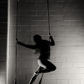 The Trapeze by Adam Menzies - Sports & Fitness Other Sports ( school, black and white, art, vancouver, circus )