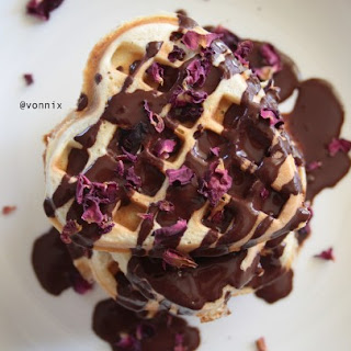 Dark Chocolate Rose Petal Waffles