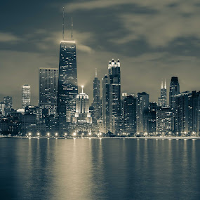 Chicago by Christian Skilbeck - Black & White Buildings & Architecture ( water, chicago skyline, moon, skyline, black and white, cityscape, chicago )
