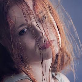 After rain by Michaela Firešová - People Portraits of Women ( female, redhead, rain, portrait )