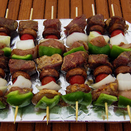 Shish Kebab - Before  by Abbey Gatto - Food & Drink Meats & Cheeses ( foods, dishes, meats, close up, grilling, shish kebab )
