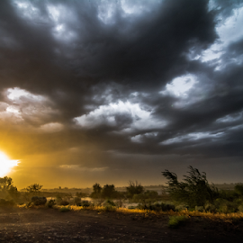 Stormy Spring Sunset by Bob Juarez - Pixel Fusion Imagery - Landscapes Weather ( windy, sunset, cloudscape, weather, storm )