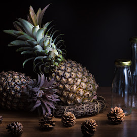 by Mr. Lilo - Artistic Objects Still Life ( root, shadow, brown, pineapple, bottle )
