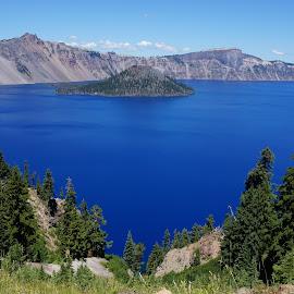 Crater Lake by Lisa Stevens - Landscapes Waterscapes ( crater, oregon, volcano, crater lake, blue, caldera, lake, island,  )