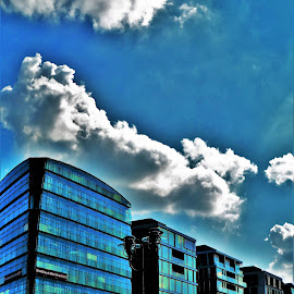 Stuttgart Buildings by Nick Remick - Buildings & Architecture Office Buildings & Hotels ( clouds, blue sky, blue, buildings, germany )