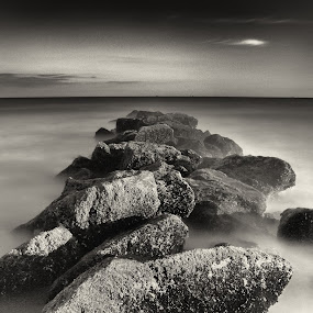 The Calm by Chris Mare - Landscapes Waterscapes ( black and white, waterscape, nd, long exposure, ocean, jetty, landscape, rocks )