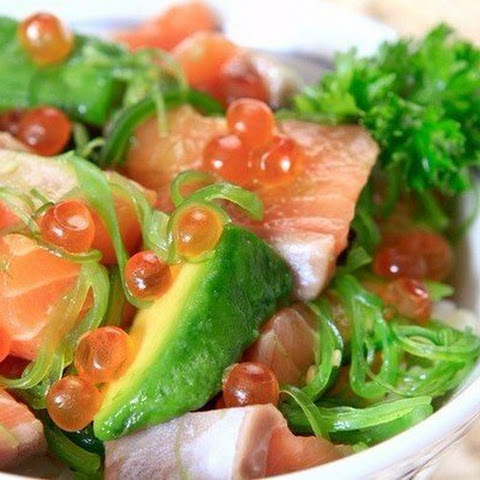 Diet menus. Salad with salted salmon and avocado
