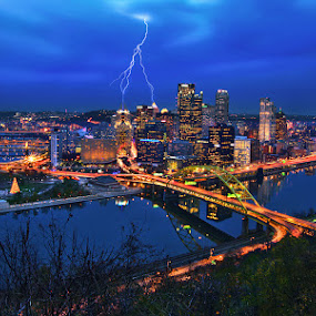 Lightning Striking Pittsburg by Al Juniarsam  - City,  Street & Park  Skylines ( pittsburg, pennsylvania, skylines, night shot )