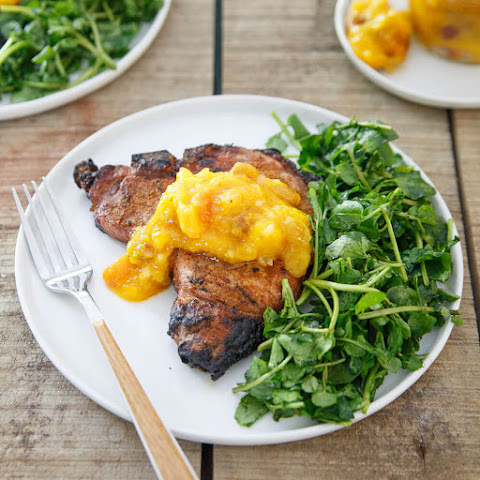 Spice Rubbed Pork Chops with Mango Peach Chutney