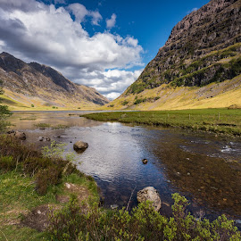 Green. by Haim Rosenfeld - Landscapes Waterscapes ( exposure, scotland, old, glencoe, mountain, europe, colorful, land, stone, rock, yellow, valley, travel, north, landscape, adventure, sky, tree, kingdom, shadow, dreamlike, nikon, light, lonely, foreground, clouds, orange, united, uk, celtic, texture, colors, green, scottish, horizon, image, brawn, lake, scenic, highlands, photo, blue, sunset, outdoor, brown, scenery, stunning, britain )
