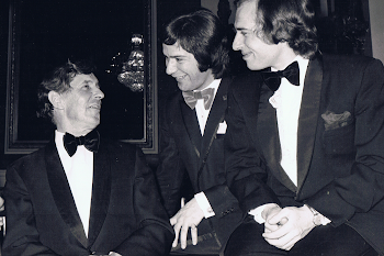 With Michael Tippett and Michael Vyner, after premier of The Knot Garden, Covent Garden, 1972
