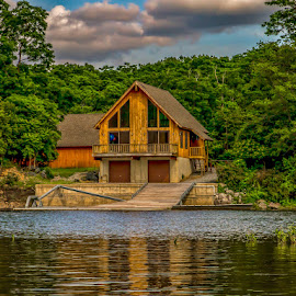 Boat House on the river by Ruth Sano - Buildings & Architecture Other Exteriors ( clouds, water, house, landscape, boat house )