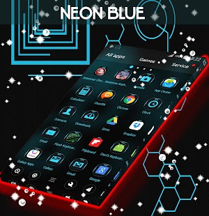 Neon Blue Tech Go Theme - screenshot