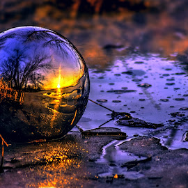 Sphere by DE Grabenstein - Landscapes Sunsets & Sunrises ( water, mirror, ice, sunset, reflections, nebraska sunset, landscape, nebraska )