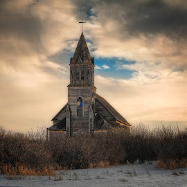 Without a Prayer by Scott Hryciuk - Buildings & Architecture Decaying & Abandoned ( religion, church, prairie, rural, decay, abandoned )